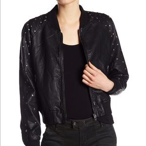 BlankNYC Denim Studded Faux Leather Bomber jacket